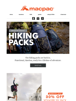 Hiking packs are back in!