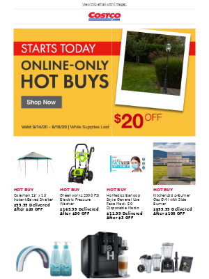 Costco - Limited Time Hot Buys Start NOW! Exclusive Deals on Kitchen, Patio, Clothing and More!