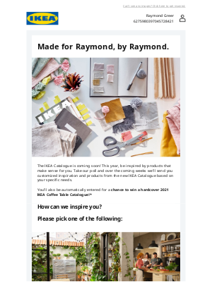Take our poll to customize your IKEA Catalogue experience, Raymond
