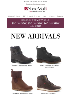 ShoeMall - New Arrivals: $40 Off!