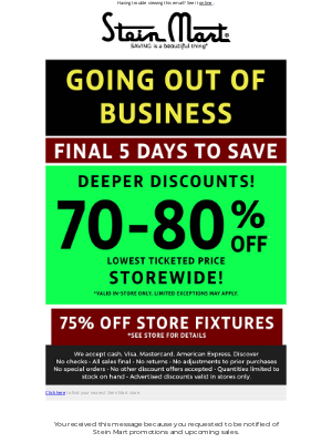 Stein Mart - Going out of business savings end soon!