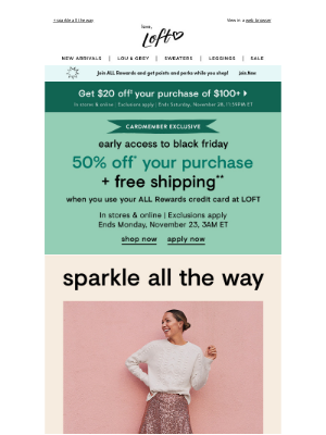 Lou & Grey - 50% OFF for cardmembers (or 40% OFF for everyone else)