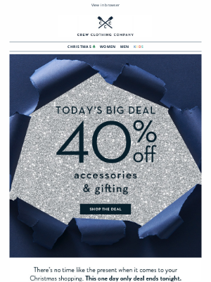 Crew Clothing (UK) - TODAY only 🎁 40% off accessories & gifts
