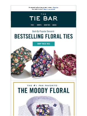 Our bestselling floral ties are back in stock. | Shop Now Can't see this em