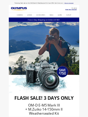 Olympus - Flash Sale: E-M5 Mark III Kit - $750 Off, 3 Days Only