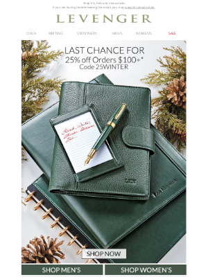 Levenger - Time's Running Out: 25% off Your Order.