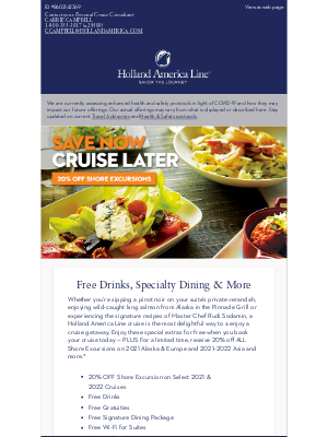 Holland America Line - Book Today with Free Drinks, Dining Package & More!