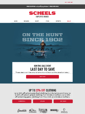 SCHEELS - Hunting Sale Ends... Tonight!