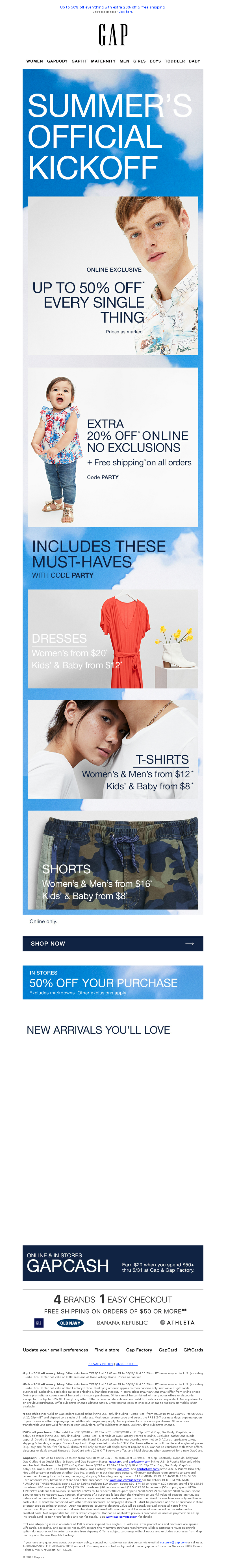 Gap - Redeem your code now! You've been given early Memorial Day deals