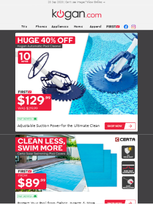 Kogan (AU) - CLEAN 40% OFF | Automatic 10m Pool Cleaner for Just $129.99 (Was $219.99)
