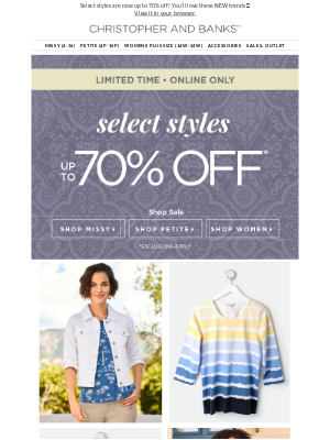 Secret's Out: Up to 70% Off Select Summer Styles!