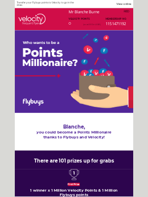 Velocity Frequent Flyer (AU) - Who wants to be a Points Millionaire?