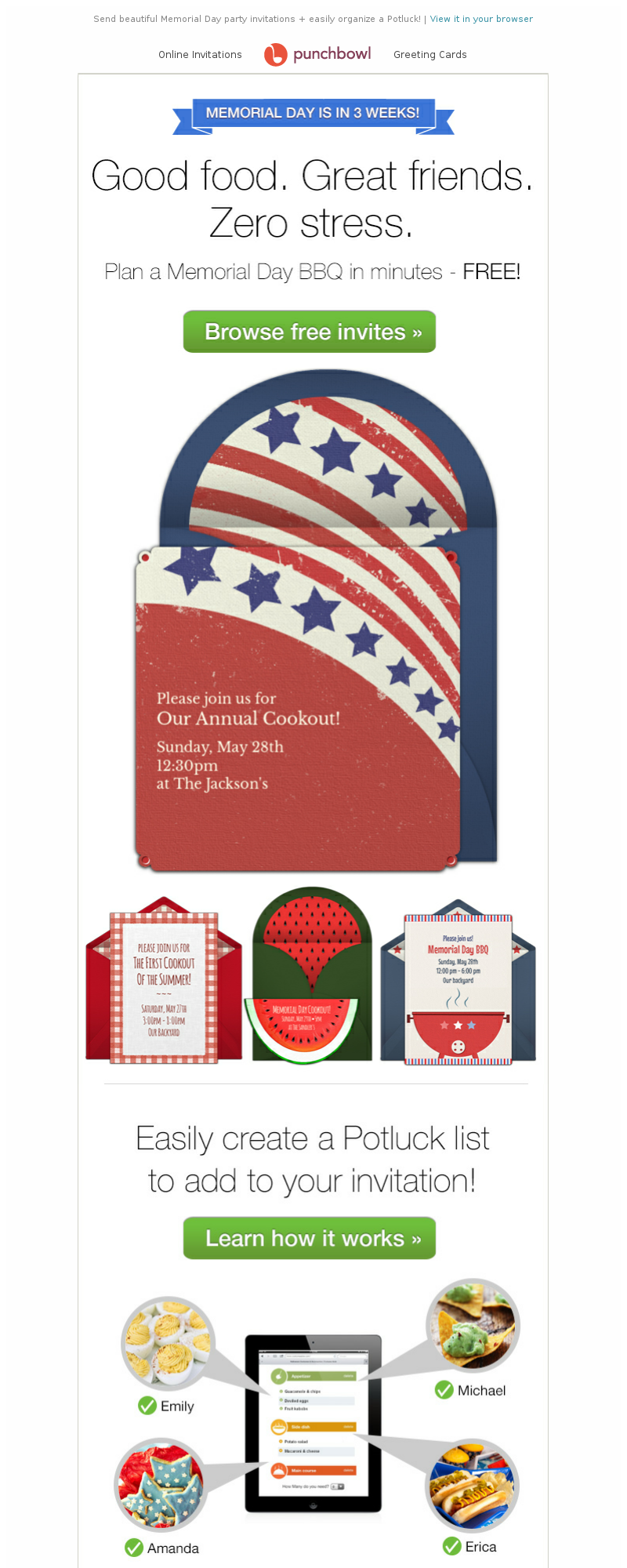 Send beautiful Memorial Day party invitations + easily organize a Potluck!