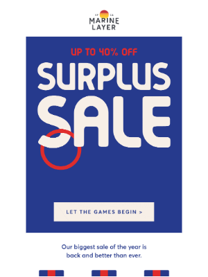 Marine Layer - Surplus Sale is here (!) — up to 40% off