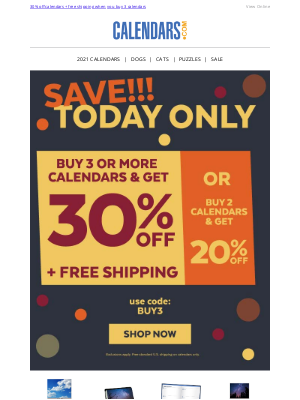 Calendars - Pick your DEAL>> Up to 30% off