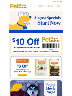 Pet Supermarket - $10 Off $50+ Purchase 🌞 Hot Summer Deals