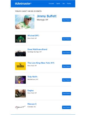 Ticketmaster - Wicked (NY), Dave Matthews Band, Jimmy Buffett & more near you!