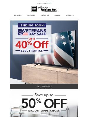 Nebraska Furniture Mart - Up to 45% off Veterans Day deals: Ending Soon