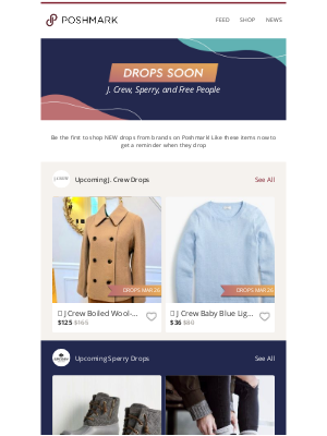 Poshmark - Going FAST: New J. Crew, Sperry, and Free People drop soon!