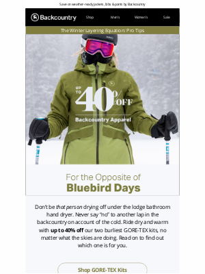 Backcountry - Our GORE-TEX Kits Are up to 40% Off!
