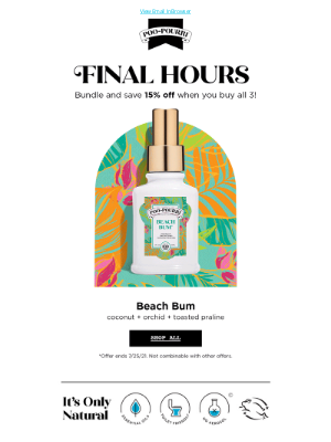 Poo~Pourri - FINAL HOURS to get 15% OFF