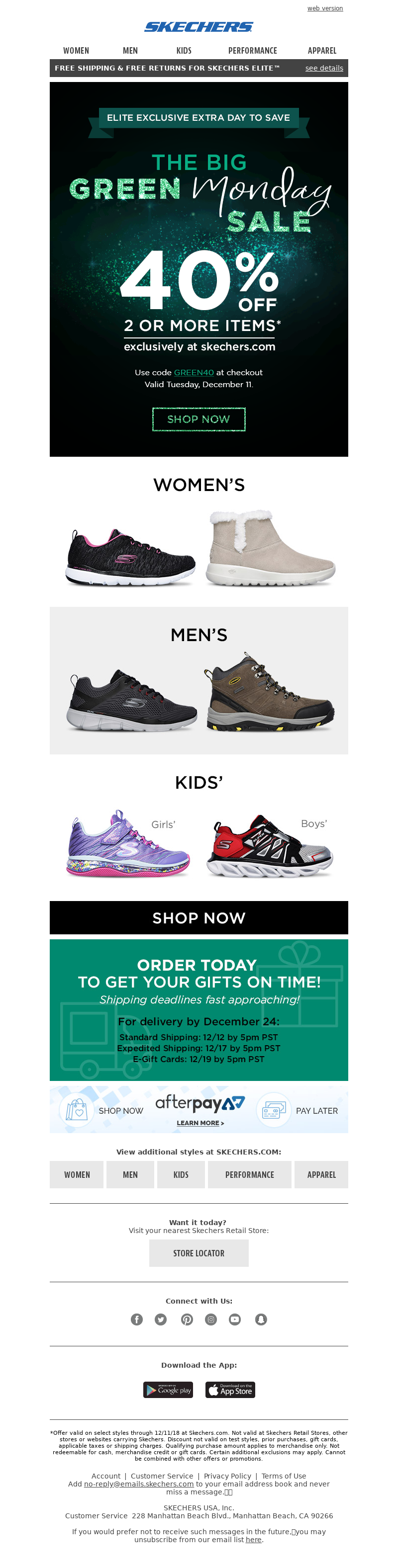SKECHERS - Surprise! Extra Day for Guaranteed Delivery...