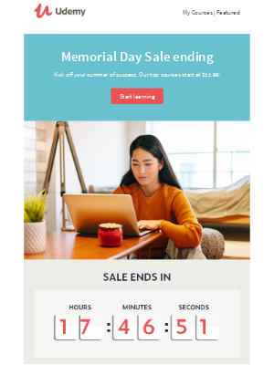 📢 Memorial Day Sale ends today >> courses as low as $11.99