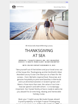Thanksgiving at Sea from just $1,299 All-Inclusive
