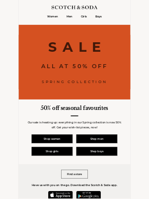 Sale: Spring collection now 50% off