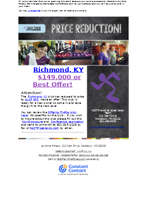 Anytime Fitness - Price Reduction - Richmond, KY