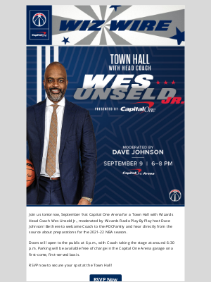 Washington Wizards - Secure Your Spot at a Town Hall with Head Coach Wes Unseld Jr.