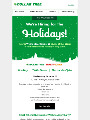Dollar Tree - We're Hiring for the Holidays!
