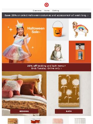 25% off Halloween costumes & accessories 👻