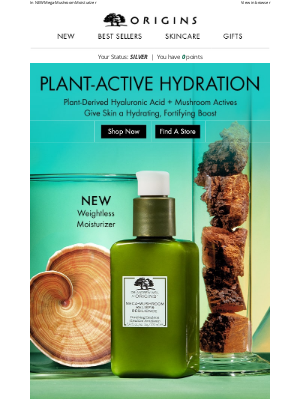 Origins - Hyaluronic Acid + Mushrooms = Plant-Powerful Results