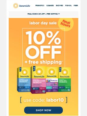 Renew Life - Final Hours—Enjoy 10% Off + Free Shipping