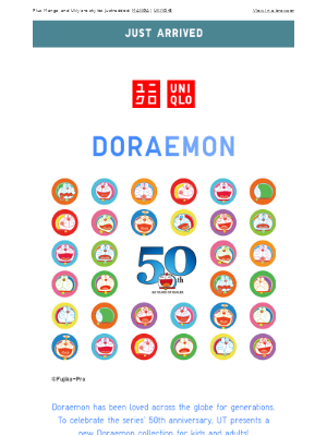 NEW! DORAEMON's 50th anniversary tees are here