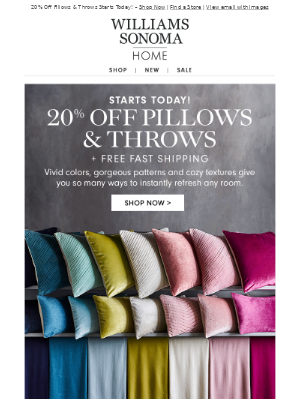 20% Off All Pillows & Throws – Time to Decorate!