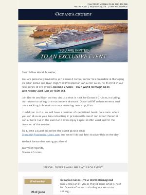 Oceania Cruises - Reminder: Oceania Cruises Exclusive Event Invite