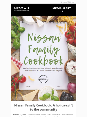 Nissan - Nissan Family Cookbook: A holiday gift to the community