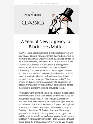 New Yorker - A Year of New Urgency for Black Lives Matter