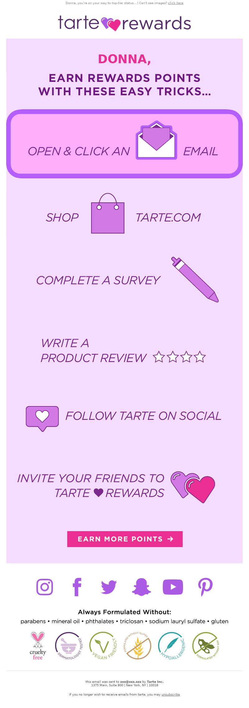 Tarte Cosmetics - 6 ways to earn tarte 💜 rewards points