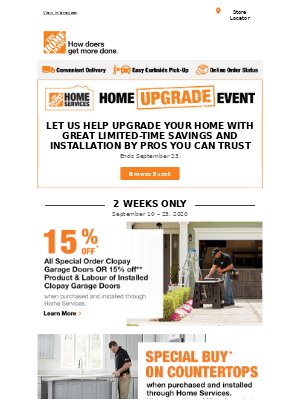The Home Depot (CA) - 🔨 The Home Services Home Upgrade Event is on NOW!