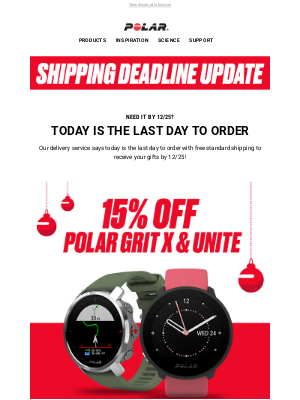 Polar - Last Day to Order Gifts from Polar