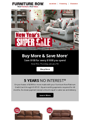 Furniture Row - New Year's Savings 🎉