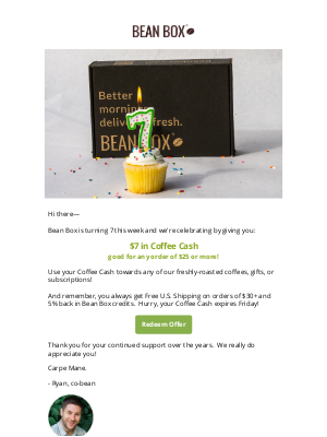 BeanBox - It's our Birthday — Let's celebrate with Coffee Cash! 🎂 ☕ 💵
