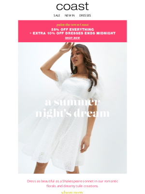 Coast Stores (UK) - 25% off everything, plus an extra 10% off dresses ends midnight