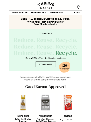 Thrive Market - EXTRA 25% off: Good for you, good for the planet 🌎