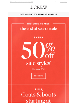 J.Crew - Extra 50% off sale styles is too good to miss!