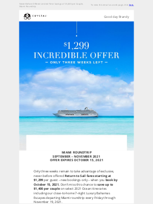 Crystal Cruises - Exclusive Fares from $1,299 – Just for You