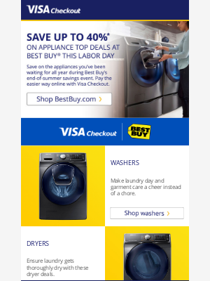 You'll save on appliances at BestBuy.com and we'll make check out easier